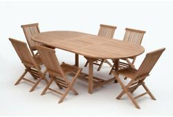 7-Piece Teak Wood Oval Outdoor Patio Furniture Dining Set 6 Folding Chairs