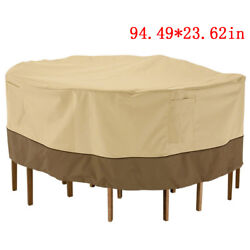 94quot; Waterproof Round Patio Set Cover Large Outdoor Table Chair Furniture Cover