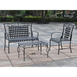 Patio Furniture Wrought Iron Table Chairs Garden Outdoor Sofa Bench Chair Black