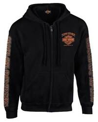 Harley-Davidson Men's Eagle Piston Long Sleeve Full-Zip Hoodie Black 30299950