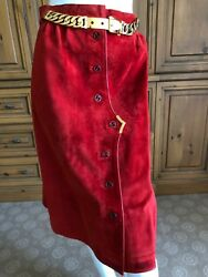 Gucci Vintage 70's Red Leather Trim Suede Skirt w Chain Details