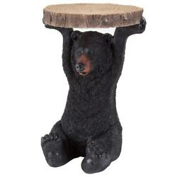 Bits and Pieces-Decorative Bear Patio Side Table -Accent Realistic Black End...