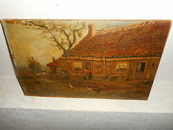 Very old oil painting{ Woman washing cloths in the fram yard is signed }. $125.00