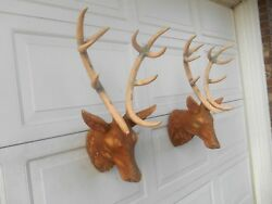 Awesome Vintage Pair Dept. 56 Red Stag Wall Sculpture Wall Decor XLarge 16