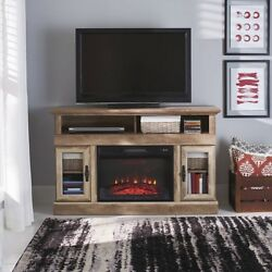 Electric Fireplace Standing Fire Heater WRemote Modern Vintage Home TV Stand