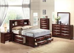 New Multi-Drawer Bed Queen King Size Ireland Home Bed 5pc Black or Espresso Set