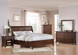 Bedroom Furniture King or Queen Size 4Pcs Bed Set in Brown Cherry Finish Bed Set