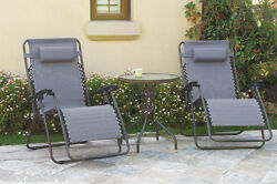3 Pc Lounge Set Zero Gravity Reclining Chairs Modern Dark Gray Outdoor Furniture