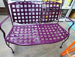 Vintage Wrought Iron Outdoor Bench Purple