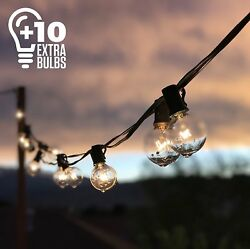 50Ft Black String Lights 60 G40 Globe Bulbs (10 Extra): Connectable Waterproof