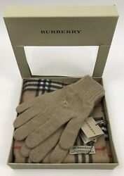 NWT Burberry Camel 50% Cashmere 50% Wool Scarf & Gloves Set