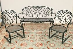 Woodard Vintage Mid Century Wrought Iron Outdoor Spring Chairs and Loveseat