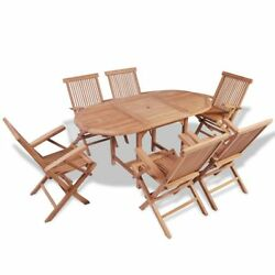 Oval Dining Table 6Folding Chairs Garden Furniture Outdoor Patio For Teak Garden