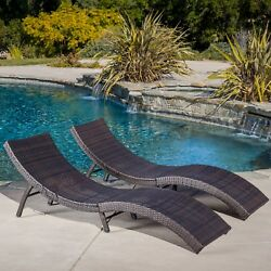 Chaise Lounge Set Outdoor Poolside Folding Lounger Furniture Sets W 2Lounges New
