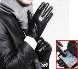 Leather Gloves Full Finger Mens Motorcycle Driving Winter Warm Touch Screen New $6.99