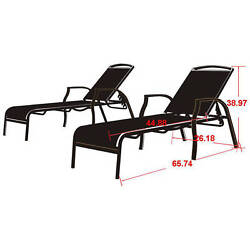Mainstays Set Of 2 Sand Dune Chaise Lounge Pool Yard Patio Garden Outdoor