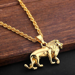 Lion Pendant 18K Gold Plated Chain Animal Charm Necklace Men's Gift Jewelry