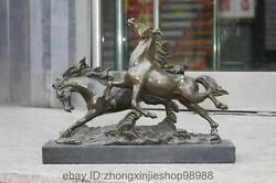 Western Pure Bronze Copper Marble Decor Art Sculpture Two Horse Statue