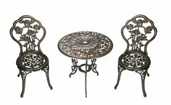 Wrought Iron Patio Bistro Set Rose Table  Chairs 3Pcs Garden Outdoor Furniture