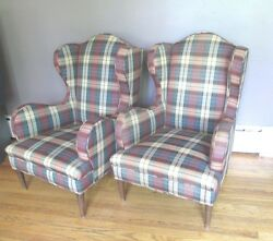 2 WING CHAIR 's pair HARVEY PROBBER ? DELIVERY AVAILABLE pre-owned Dorthy Draper