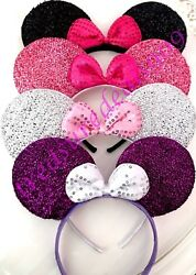 4 Pc MIX SHINY MINNIE MOUSE EARS HEADBANDS BLACK PINK SILVER PURPLE Party Favors $9.95