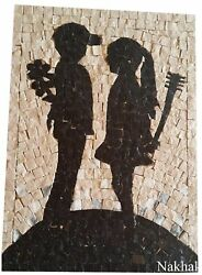 Artistic decorative hand made new mosaic panel black and white natural stone