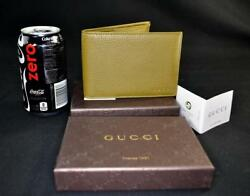 $465 New in Box Gucci Men's Medium Italian Leather Bifold Wallet with Logo