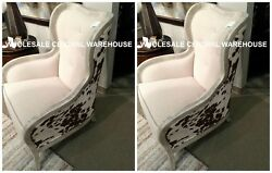 PAIR FARMHOUSE WESTERN COWHIDE PRINT WING HIGH BACK ACCENT MAHOGANY CHAIR