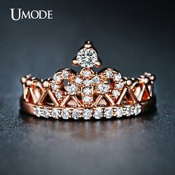 UMODE Exquisite Crown Shaped Ring Rose Gold Color CZ Rings For Women Fashion Hot