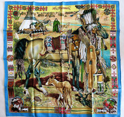 NWOT Auth Hermes Scarf 'Les Cheyennes' 100% Silk Carre 90