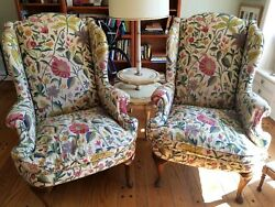 Henredon Vintage Wing Arm Chairs Embroidered Crewel Upholstery - Pair