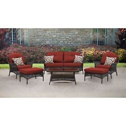 Patio Furniture 6-Piece Resin Wicker Sectional Sofa Set W Coffee Table- Red