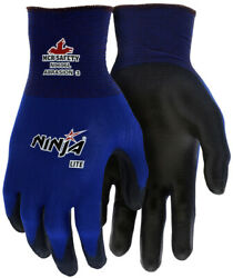 MCR Safety Ninja Nylon Work Gloves with Polyurethane Coated Palm Blue $6.59