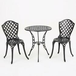 3 Piece Cast Iron Bistro Set Table and Chairs Outdoor Garden Patio Furniture