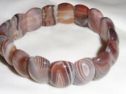 Handmade Ladies Natural Stone Layered Agate Stretchy Gift Panel Bracelet