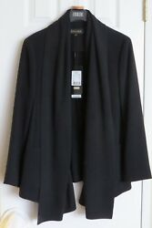 Brand New ($2095.00) Escada Light Weight Black Jacket wLong Scarves Attached