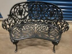 1920's Antique French Regency Neoclassical Cast Iron Garden Bench - Excellent
