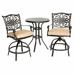 Patio Bistro Set Outdoor High Dining Furniture Sets WSwivel Chairs Table Cushion