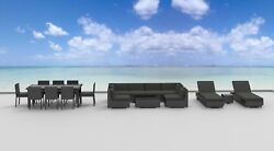 Outdoor Patio Furniture Gray Wicker Sectional Lounger and Dining 19 Piece Set