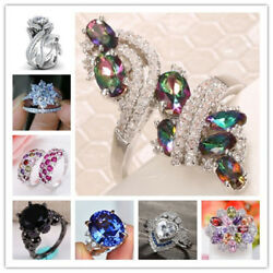 Hot Sale Fashion 925 Silver Sapphire Ring Wedding Party Women Jewelry Size 6 10 $1.99