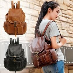 Women's Vintage Leather Backpack School Backpack Shoulder Travel Rucksack Bag