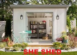 SALTBOX 6' X 12' WOOD SHE-SHED ~ 26 GARDEN SHED PLANS + Material