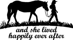 She Lived Happily Ever After Horse Decal Window Bumper Sticker Car Girl Cowgirl