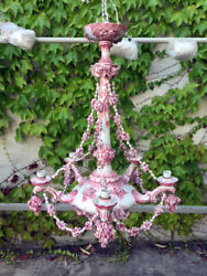 Antique Albisola Ceramic Chandelier from the 70s - Pink