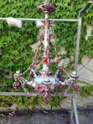 Antique Albisola Ceramic Chandelier from the 70s - Red