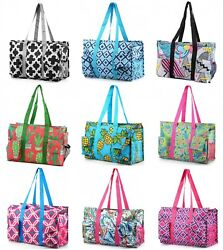 Zip Top Organizing Utility Tote Beach Diaper Bag 7 Pocket Tote Utility Organizer