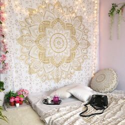 Wall Decor Hippie Tapestries Bohemian Wall Hanging Indian Gold Mandala Tapestry $17.99