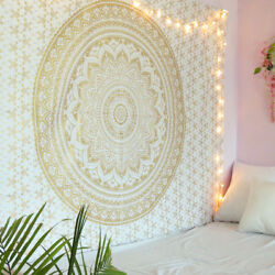 White and Gold Mandala Tapestry Wall Hanging Boho Hippie Bedspread Twin Tapestry $14.99