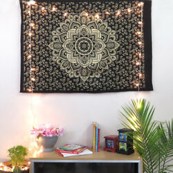 Black Gold Poster Mandala Tapestry Wall Indian Decor Hippie Golden Lotus Flower $6.49