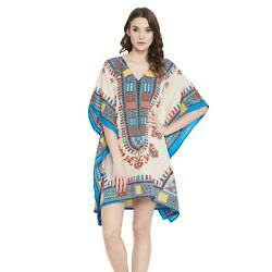 Dashiki Tunic Kaftan Short Sleeve Plus Size Caftan Casual Mini Boho Dress Top $12.99